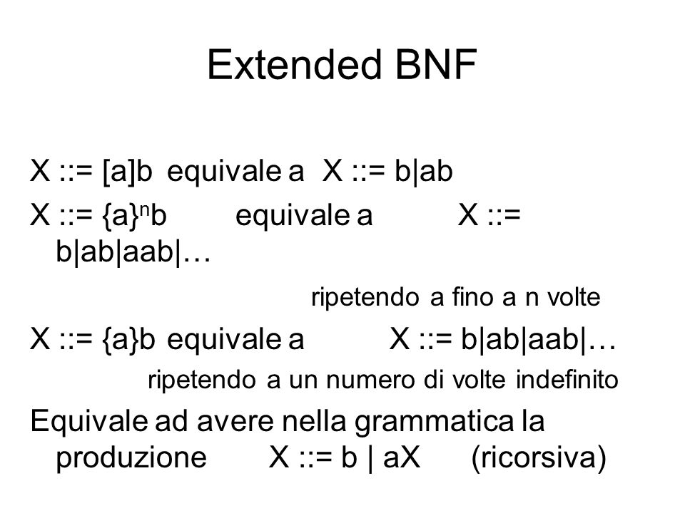 Extended BNF X ::= [a]b equivale a X ::= b|ab